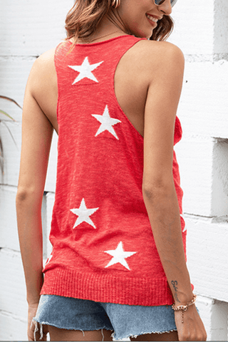 VOKJJ Summer Sexy Sleeveless Lady Vest with Pentacle pattern