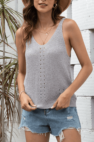 VOKJJ Summer Sexy Solid Lady Vest with Hollow-carved in Front