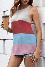VOKJJ Summer Sexy Lady Vest in Multi-colored Wide Stripe