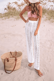 VOKJJ Summer Sexy Long Beach Pants with Hollow-carved