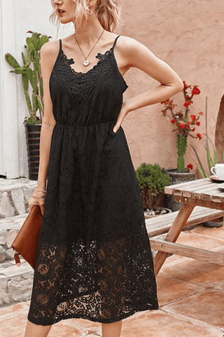 VOKJJ Summer Elegant Lace Slip Dress in Solid Color