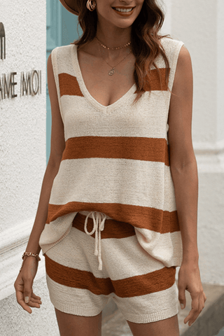 VOKJJ Summer Casual Wide Stripe Vest with Pant