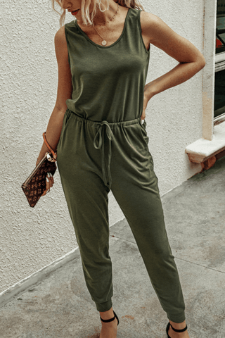 VOKJJ Summer Casual Jumpsuits in Solid Color with Adjustable Belt