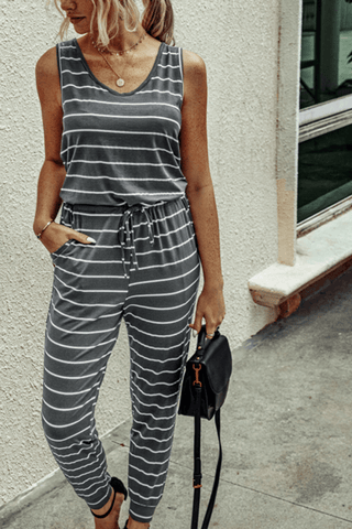 VOKJJ Summer Casual Stripe Sleeveless Jumpsuit with Round Collar