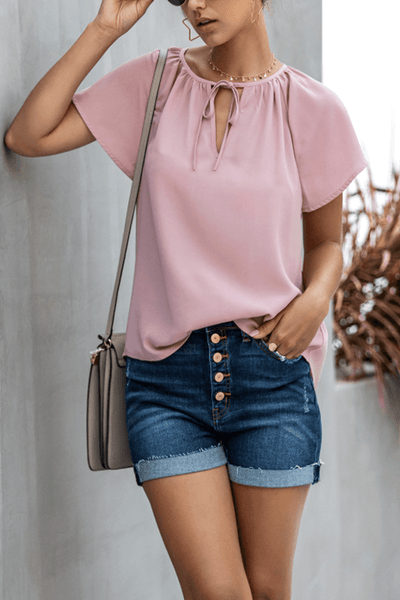 VOKJJ Summer Casual V-neckline Lady Top in Solid Color
