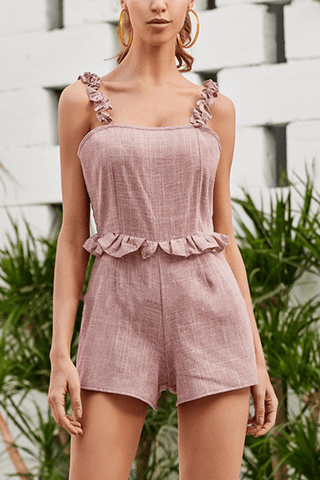 VOKJJ Summer Solid Slip Jumpsuits with Ruffle Decoration