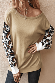 VOKJJ Fall and Winter Solid Knit Sweater with Splice Details in Sleeve