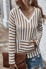 VOKJJ Fall and Winter Casual Stripe Hooded Sweater