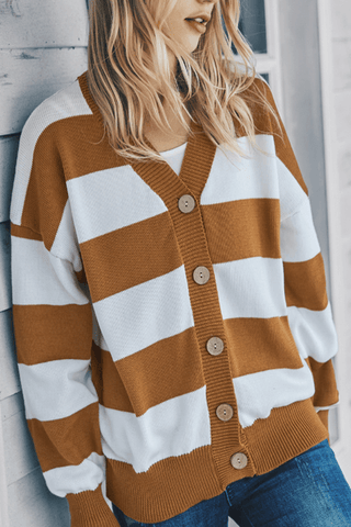 VOKJJ Fall and Winter Casual Stripe Sweater with Buttons in Front