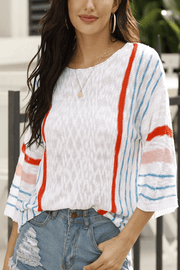 VOKJJ Sweet Knitwear in Multicolored Stripe with Mandarin Sleeve