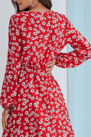 VOKJJ Fall Casual Flower Print Dress with Long Sleeve