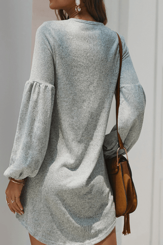 VOKJJ Fall and Winter Casual Solid Sweater Dress with Long Sleeve