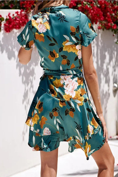 Cheap V-Neck Sexy Slim Short Sleeve Print Dress