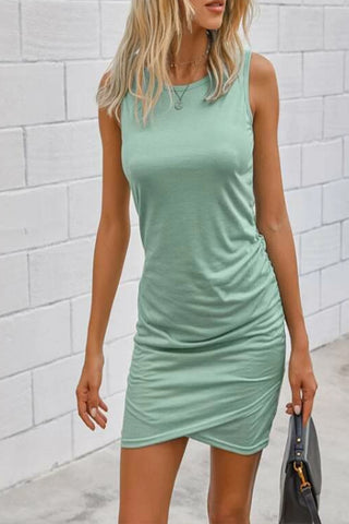 VOKJJ Solid Round Neck Fitted Dress