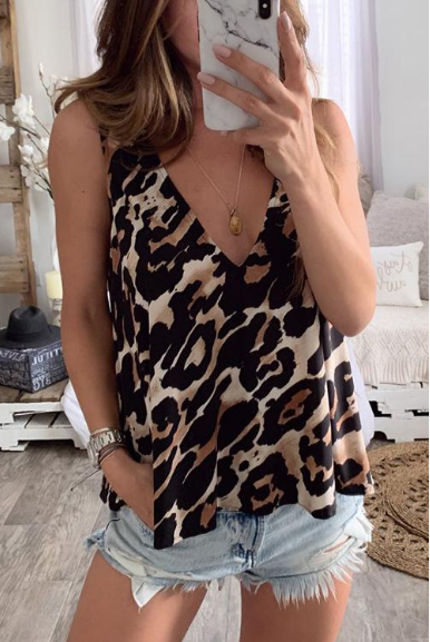 Sexy Leopard V Neck Tank Top