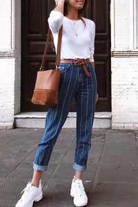 Casual Simple Button Stretch Striped Jeans