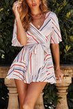 Colorful Striped Print Lacing Dress