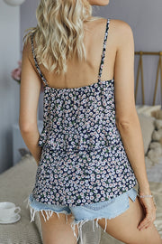 VOKJJ Summer Hot Floral Slip Ruffle Edge Top