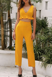 Lotus-edged V-neck High Waist Wide-Legged Pants Suit