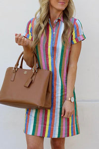 Soft Multicolor Stripe Shirt Dress