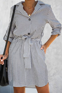 VOKJJ Loose Belt Long Sleeve Striped Dress