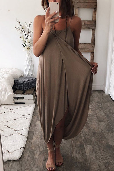 VOKJJ Solid Color Knit Loose Irregular Dress - Hellosuitlady