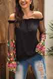 Off-shoulder Stitching Lace Embroidered Perspective Long-Sleeved T-Shirt