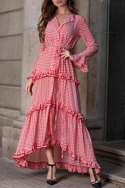 VOKJJ Thousand Plaid Red Long Sleeve Layered Cake Dress - Hellosuitlady