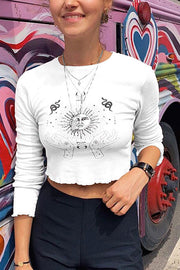 VOKJJ Letter Printed Round Neck Long Sleeve T-Shirt - Hellosuitlady