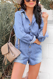 Geranxtw Button Long Sleeve Top Denim Jumpsuit - Hellosuitlady
