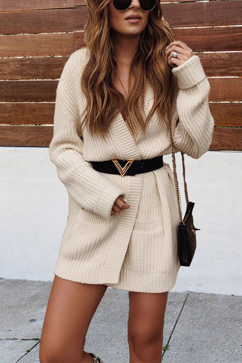 VOKJJ  Waist-knit Long Sweater Coat - Hellosuitlady