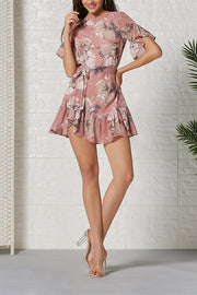 VOKJJ Ruffled stitching chiffon print dress - Hellosuitlady