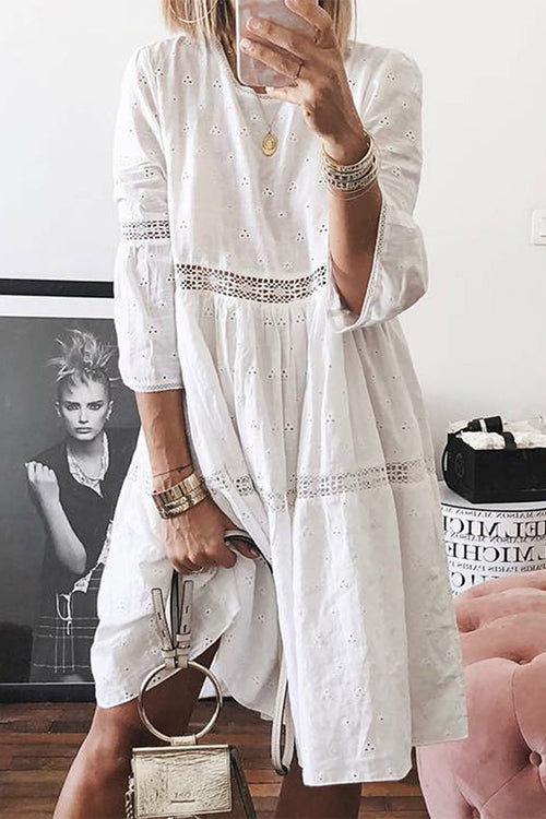 Lace Splicing Hollowing Round Neck Seven-Quarter Sleeve Dress