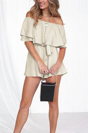VOKJJ Off-the-shoulder Strap Short Jumpsuit - Hellosuitlady
