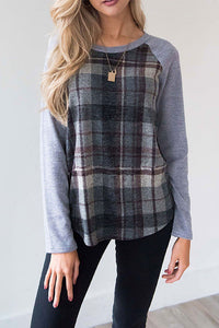 VOKJJ Round Neck Plaid Long Sleeve T-shirt - Hellosuitlady