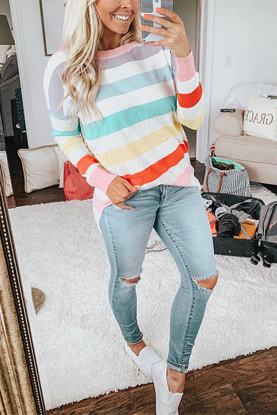 Rainbow Colorblock Striped Long-sleeved T-shirt