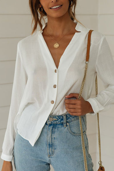 VOKJJ Collarless Button Down Blouse - Hellosuitlady