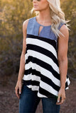 Stripe Print Denim Patchwork Tank Tops