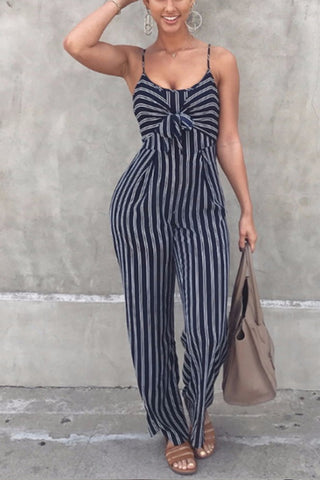VOKJJ Sexy Black Sleeveless Striped Knot Jumpsuit Romper Pant
