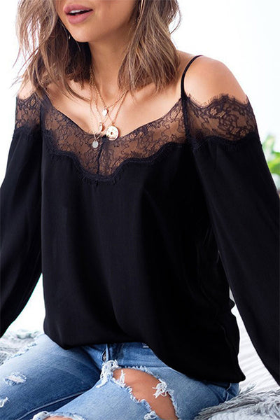 VOKJJ Lace Long-Sleeved Sling Chiffon Top - Hellosuitlady