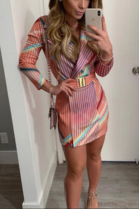 VOKJJ Striped Suit Collar Dress