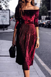 Off Shoulder Pleated Cropped Sleeves Long Dress