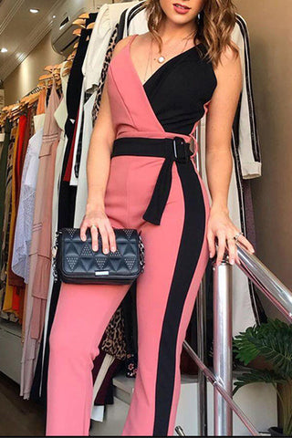 Europe and the United States new women's color contrast cross straps slim waisted jumpsuit