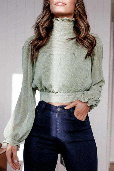 VOKJJ High-Neck Chiffon Long-Sleeved Pullover Top With Knotted Short Shirt - Hellosuitlady