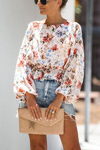 VOKJJ Puff Sleeve Floral  Waist Long Sleeve Shirt