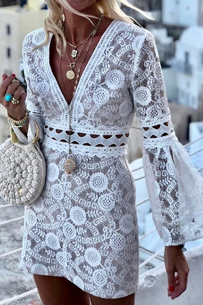 White Openwork Lace Dress