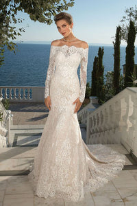 Allover Lace Trumpet Gown with Detachable Long Sleeve Jacket