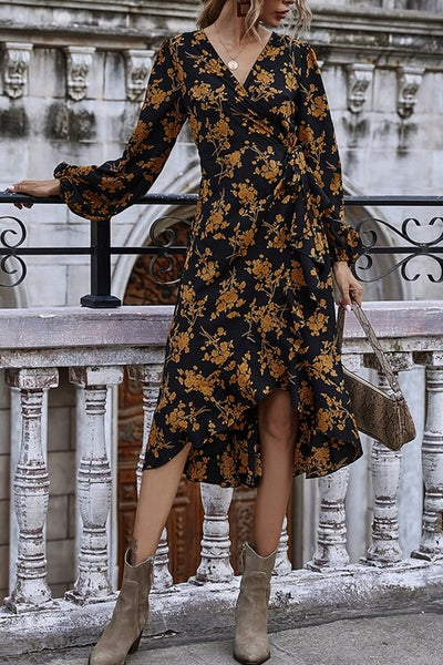 VOKJJ  V-neck Long Sleeve High Waist Slim Fit Dress