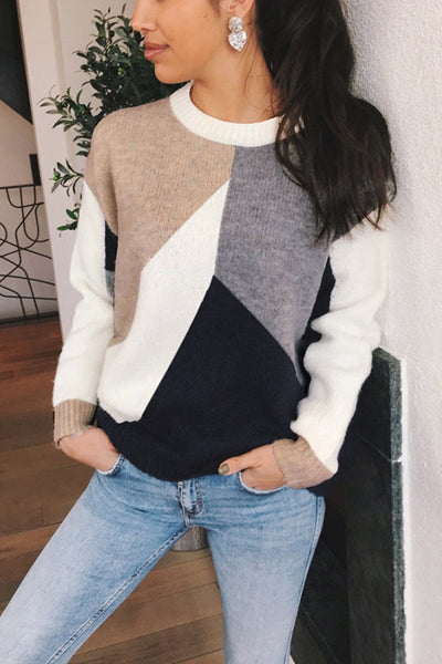 VOKJJ Colorblock Pullover Warm Sweater - Hellosuitlady