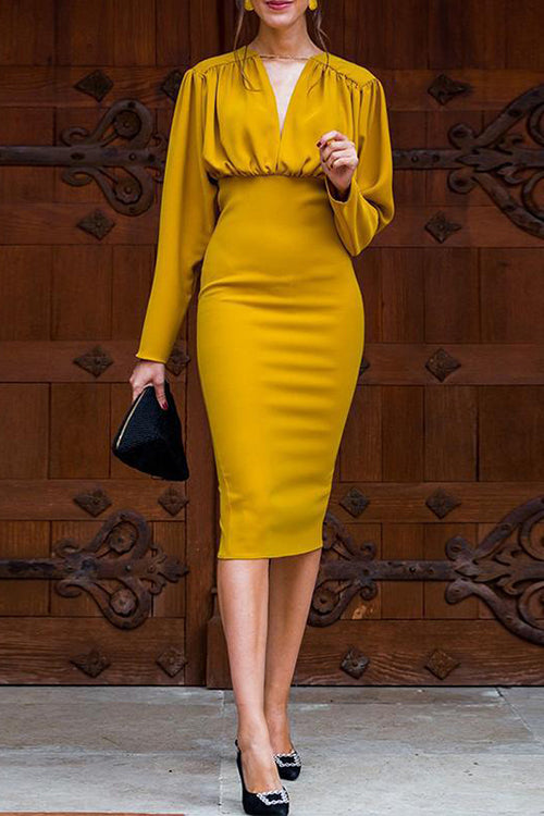 Yellow Pleated Dress - Hellosuitlady